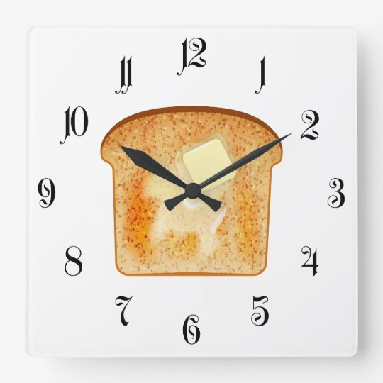 Butter on toast square wall clock