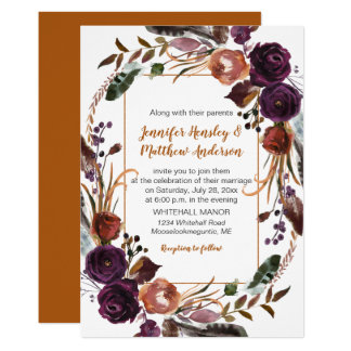 Butter Rum Rust Dark Purple Roses Wreath Wedding Card