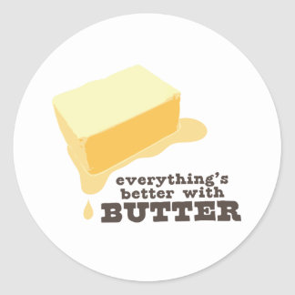 Butter Round Sticker