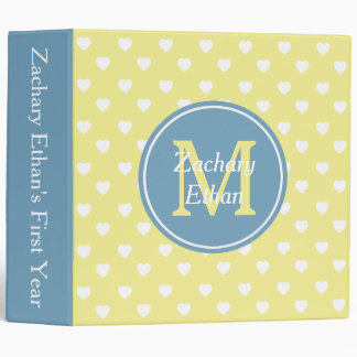 Butter Yellow and Carolina Blue Hearts Monogram 3 Ring Binder