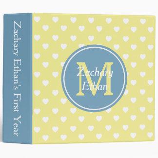 Butter Yellow and Carolina Blue Hearts Monogram Binders