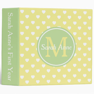 Butter Yellow and Mint Hearts Monogram Scrapbook 3 Ring Binder