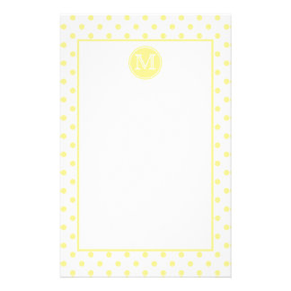 Butter Yellow and White Polka Dot Monogram Stationery