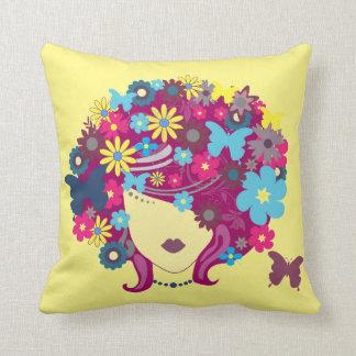 Butter yellow Flower Girl  art Decor pillow