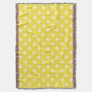 Butter Yellow Southern Cottage Fleur de Lys Throw Blanket