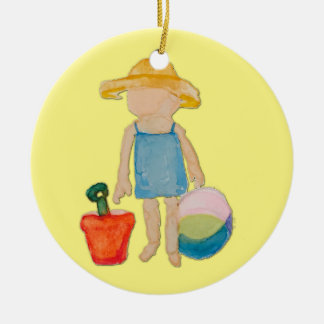 Butter Yellow Toddler Baby Girl at Beach Round Ceramic Ornament