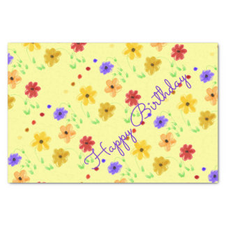 Butter Yellow With Colorful Floral Pattern Tissue Paper