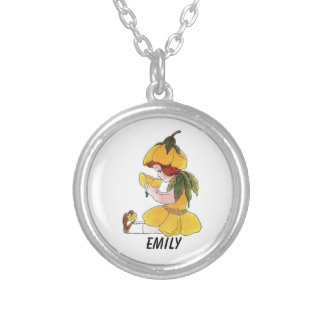 Buttercup Flower Child Funny Cute Little Girl Silver Plated Necklace