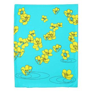 Buttercup Rain Sketch from our Garden- Reversible Duvet Cover