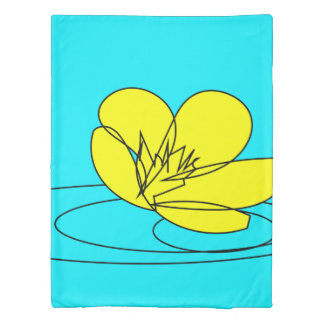 Buttercup Rain Sketch from our Garden- Reversible Duvet Cover