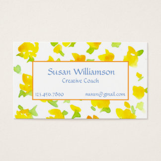 Buttercup Yellow Hand Painted Watercolor Flowers Business Card