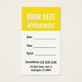 Buttercup Yellow Modern  Your Next  Appointment Business Card
