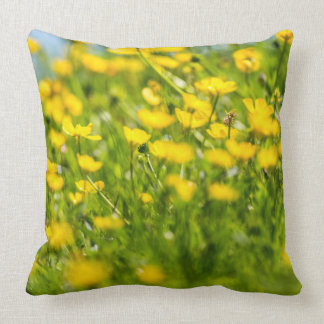 Buttercups in motion. throw pillow
