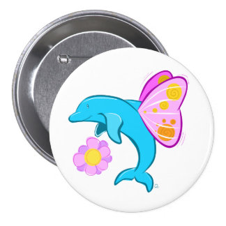 Butterfin Badge 3 Inch Round Button