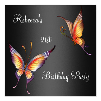 "Butterflies 21st Birthday Party Yellow Black 5.25"" Square Invitation Card"