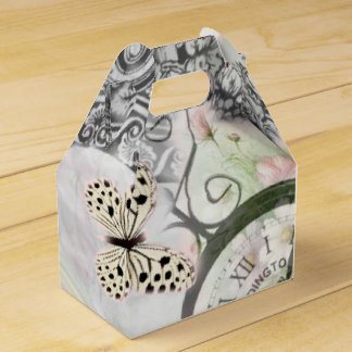 Butterflies and clocks vintage in pink colors favor box