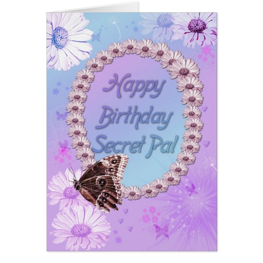 Butterflies and daisies Birthday card, secret pal Card