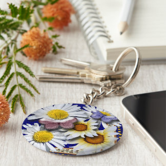 Butterflies and Daisies Keychain