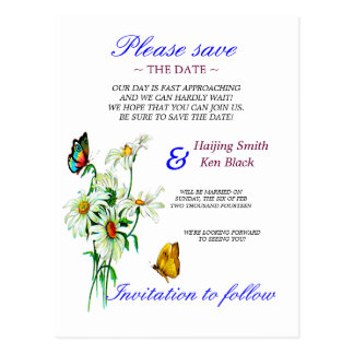 Butterflies And Daisies Yellow Save The Date Postcards