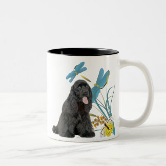 Butterflies and dragonflies Blk Cocker Two-Tone Coffee Mug