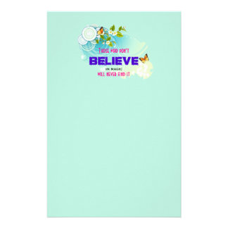 Butterflies and Flower Blossoms with Magic Quote Personalized Stationery