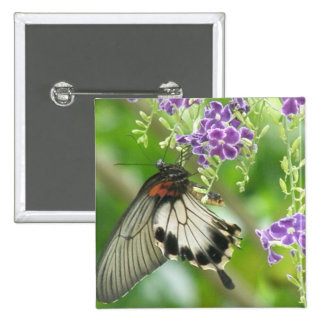 Butterflies and Flowers  Button