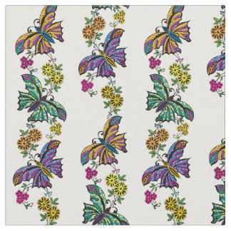 Butterflies And Flowers Fabric