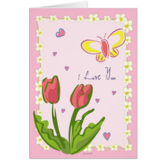 "Butterflies and flowers ""I love you"" Greeting Card"