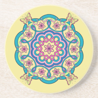 Butterflies and Flowers in a Circle - Coaster