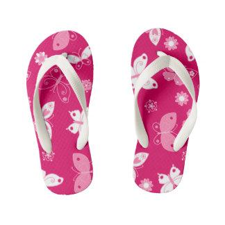 Butterflies and flowers kid's flip flops