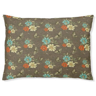 Butterflies and Flowers On Brown Dog Pillow Large Dog Bed