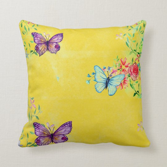 Butterflies and Flowers on Yellow Throw Pillow