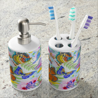 Butterflies and Flowers Soap Dispenser And Toothbrush Holder