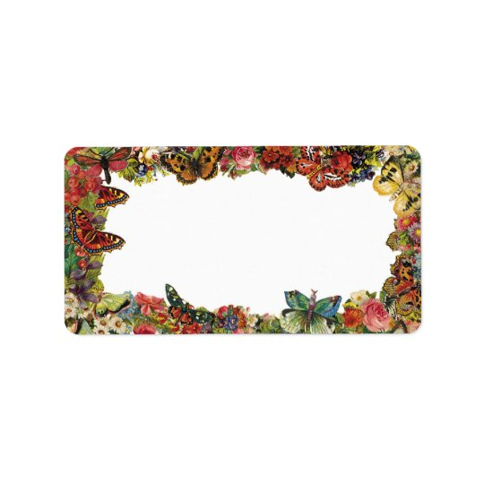 Butterflies and Flowers Vintage Border