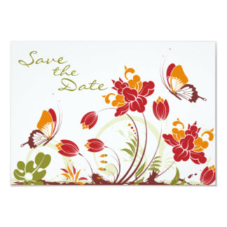 """Butterflies and Flowers Wedding Save the Date 3.5"""" X 5"""" Invitation Card"""