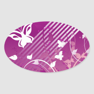 Butterflies and Graphics Oval Stickers