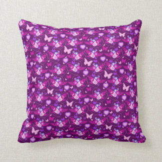 Butterflies and hearts graphic pattern pillow