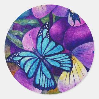 Butterflies and Panseys Stickers