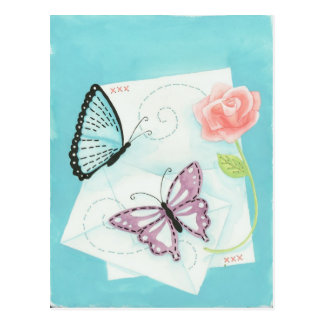 Butterflies and Pink Rose Watercolor Postcard