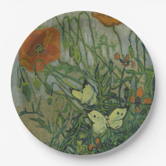 Butterflies and Poppies by Vincent Van Gogh Paper Plate