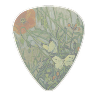 Butterflies and Poppies by Vincent Van Gogh Polycarbonate Guitar Pick