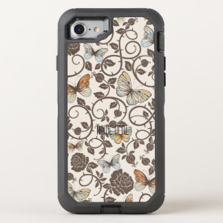 Butterflies and Roses On Cream OtterBox Defender iPhone 7 Case