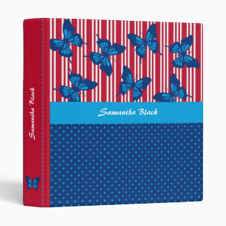 Butterflies and Stripes Binder