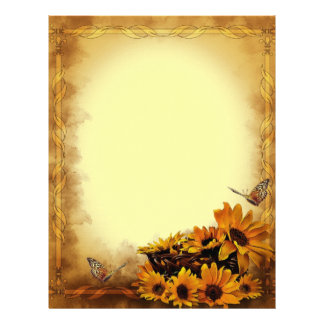 Butterflies and Sunflowers Stationary Letterhead
