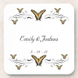 Butterflies and Swirls Beverage Coaster