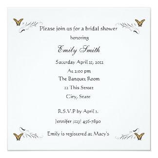 Butterflies and Swirls bridal shower invitation