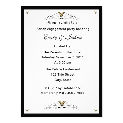 Butterflies and Swirls engagement party Custom Invite