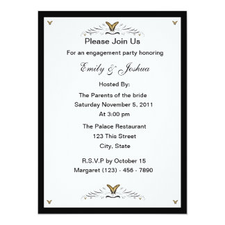 Butterflies and Swirls engagement party 5.5x7.5 Paper Invitation Card