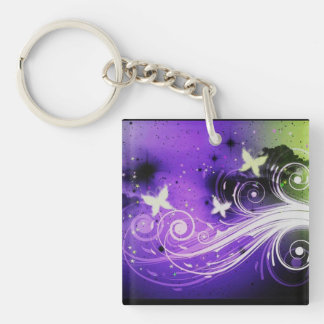 Butterflies and swirls acrylic keychains