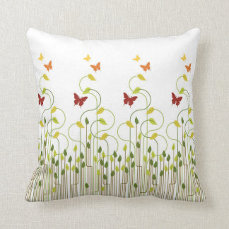 Butterflies and Vines on White Throw Pillow